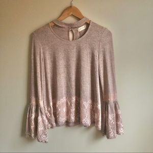 Altar'd State Blush Pink Lace Sweater
